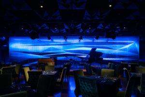 main venue area with blue show lighting